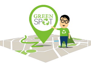"Recycle the old battery of your car by placing it in the closest to your area ""Green Spot"""